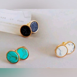 Jewelry - Marble Round Stud Earrings Gold Tone